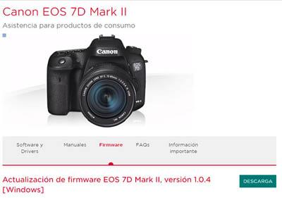 Firmware para la Canon EOS 7D Mark II