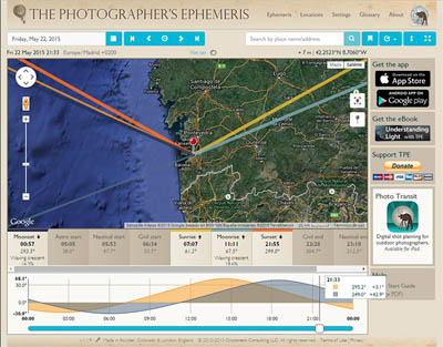 Guía de TPE, The Photographer's Ephemeris, versión web